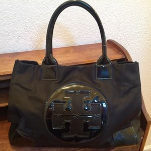 Tory Burch Nylon and Patent Leather Tote Black